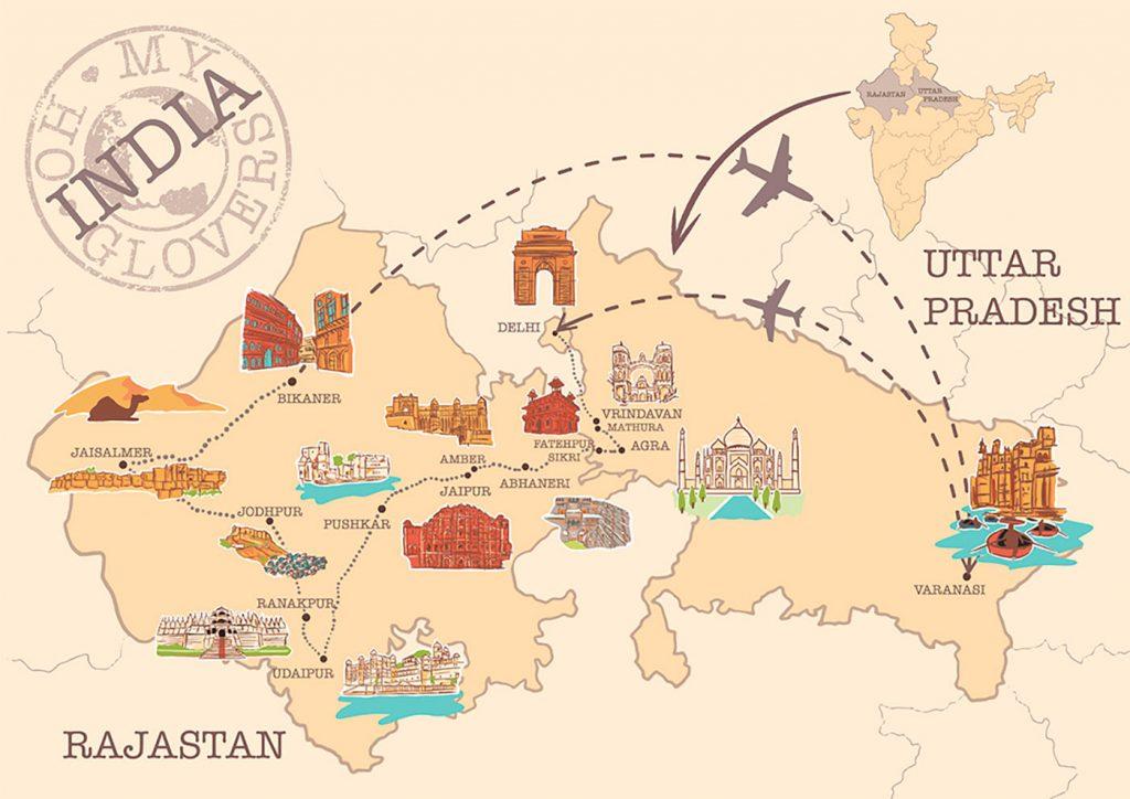 Mapa ruta norte India