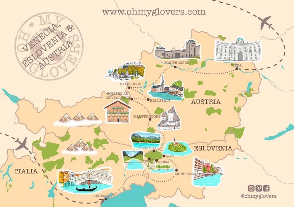 Mapa ruta road trip Venecia Eslovenia Austria