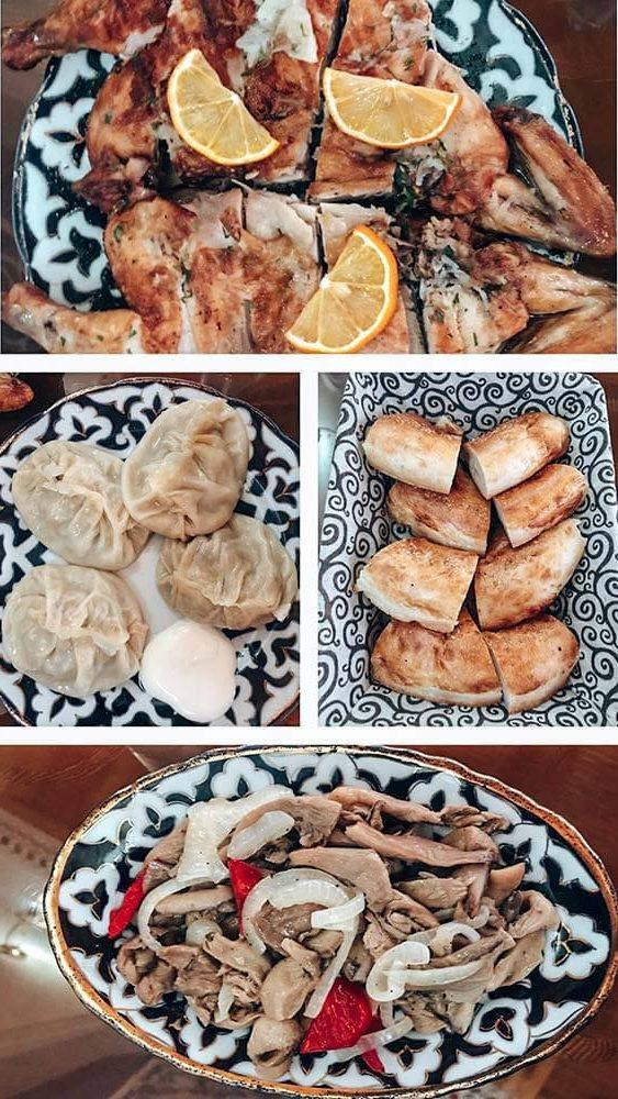 Comida en el restaurante Chayxana Chinar