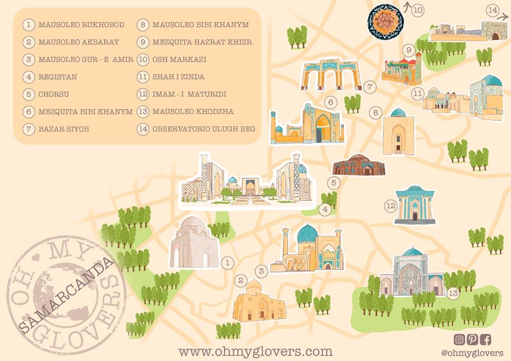 Mapa ruta Samarcanda que ver