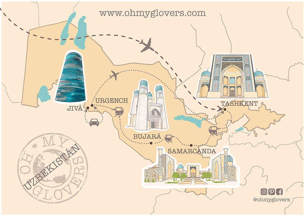 Mapa ruta Uzbekistan que ver