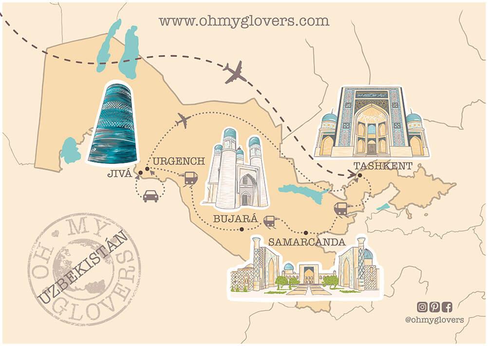 Mapa ruta uzbekistan